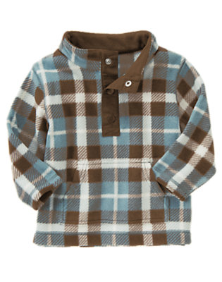 Toddler Boys Chocolate Brown Plaid Plaid Microfleece Pullover by Gymboree