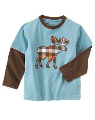 Boys Blue Spruce Plaid Moose Double Sleeve Tee by Gymboree