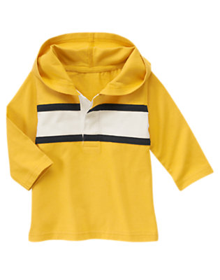 Construction Yellow Pieced Stripe Rugby Hoodie by Gymboree