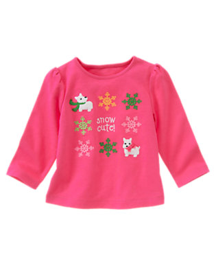 Cheery Pink Westie Puppy Snowflake Tee by Gymboree