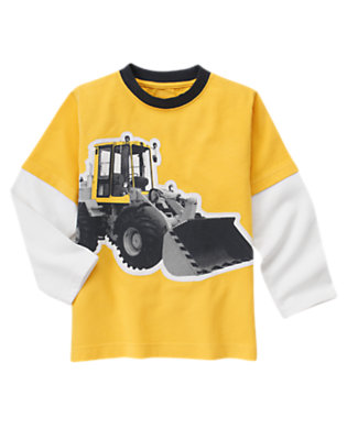 Boys Construction Yellow Tractor Double Sleeve Tee by Gymboree