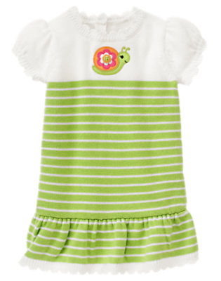 Toddler Girls Lime Green Stripe Flower Snail Stripe Sweater Dress by Gymboree