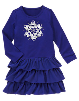 Girls Princess Blue Gem Snowflake Tiered Dress by Gymboree