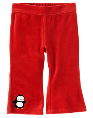 Cinnamon Red Penguin Velour Pant by Gymboree