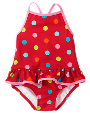 Toddler Girls Raspberry Red Dot Polka Dot One-Piece Swimsuit by Gymboree
