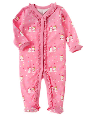 Frosty Pink Snow Friends Footed One-Piece by Gymboree