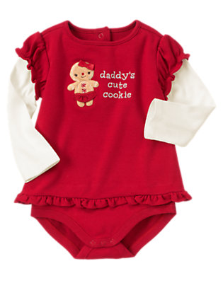 Red Peppermint Gingerbread Girl Double Sleeve Tee Bodysuit by Gymboree