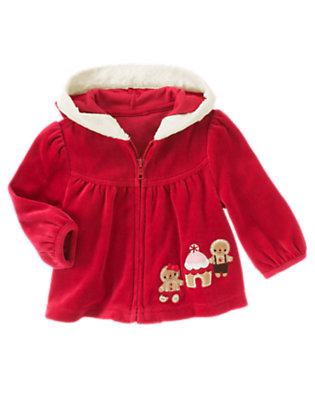 Baby Red Peppermint Gingerbread Friends Velour Hoodie by Gymboree