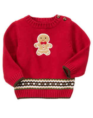 Red Peppermint Gingerbread Boy Fair Isle Sweater by Gymboree