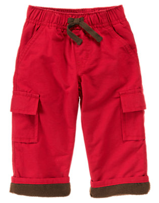 Red Peppermint Lined Cargo Active Pant by Gymboree