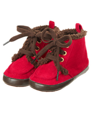 Baby Red Peppermint Corduroy Crib Boot by Gymboree