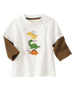 Ivory Dinosaur Double Sleeve Tee by Gymboree