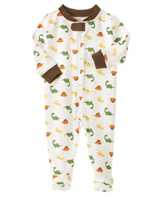 Ivory Dinosaur Footed One-Piece by Gymboree