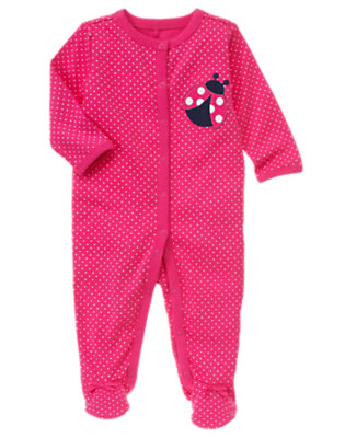 Bright Fuchsia Polka Dot Footed One-Piece by Gymboree