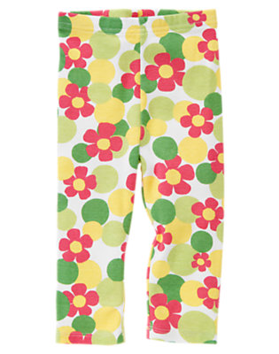 White Flower Dot Gymboree Outlet Flower Dot Legging by Gymboree