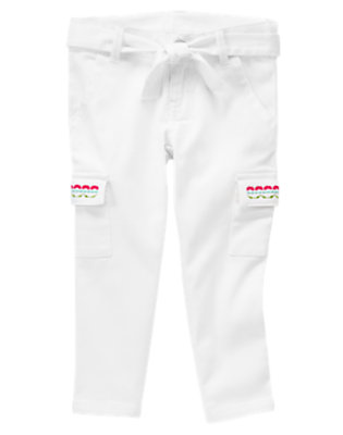 White Gymboree Outlet Embroidered Cargo Crop Pant by Gymboree