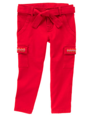 Red Gymboree Outlet Embroidered Cargo Crop Pant by Gymboree