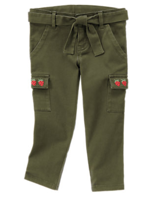Olive Gymboree Outlet Strawberry Cargo Crop Pant by Gymboree