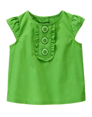 Green Gymboree Outlet Ruffle Button Top by Gymboree