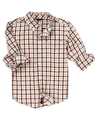 Raptor Brown Check Roll Cuff Checked Shirt by Gymboree