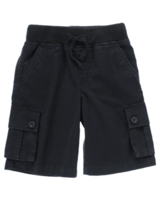 Deep Sea Navy Pull-On Canvas Cargo Short by Gymboree