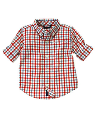 Toddler Boys Athletic Navy Check Roll Cuff Check Shirt by Gymboree
