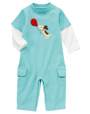 Bulldog Blue Puppy Double-Sleeve One-Piece by Gymboree