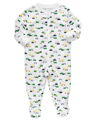 Crosswalk White Car Car Print Footed One-Piece by Gymboree