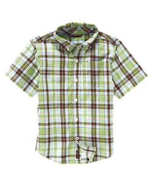 Sailboat Green Plaid Plaid Shirt by Gymboree