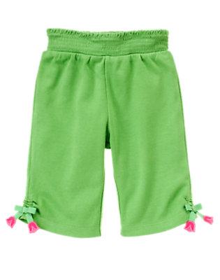 Clover Green Bow Hem Capri Pant by Gymboree