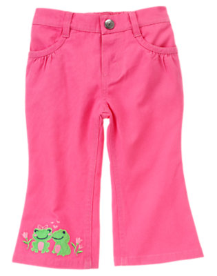 Bright Tulip Pink Kissing Frogs Pant by Gymboree