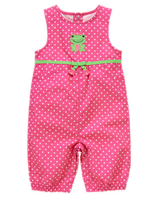 Toddler Girls Bright Tulip Pink Dot Frog Polka Dot Overall by Gymboree
