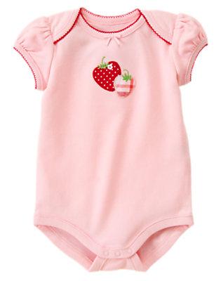 Marshmallow Pink Strawberry Bodysuit by Gymboree