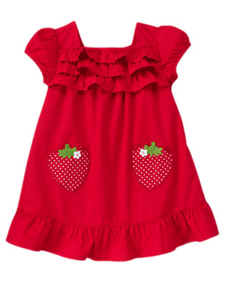 Strawberry Red Ruffle Strawberry Pocket Dress by Gymboree