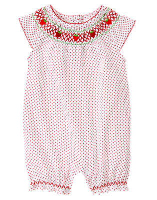 White Dot Strawberry Dot Shortie One-Piece by Gymboree