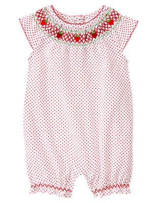 White Dot Strawberry Dot Shortie One-Piece by Gymboree