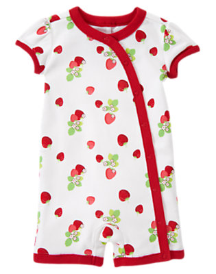 White Strawberry Strawberry Shortie One-Piece by Gymboree