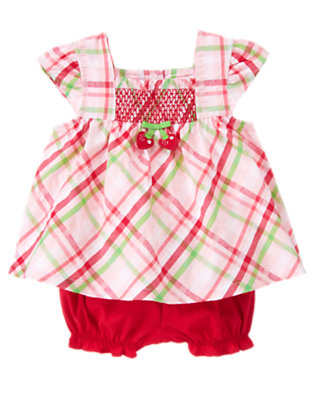 Marshmallow Pink Plaid Smocked Plaid Two-Piece Set by Gymboree