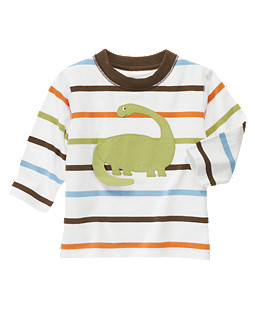 Stripe Dinosaur Long Sleeve Tee