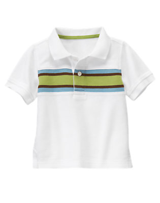Toddler Boys White Chest Stripe Pique Polo by Gymboree