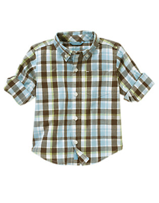Toddler Boys Prehistoric Blue Plaid Roll Cuff Plaid Shirt by Gymboree
