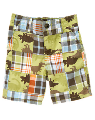 T-Rex Green Patchwork Dinosaur Plaid Patchwork Short by Gymboree