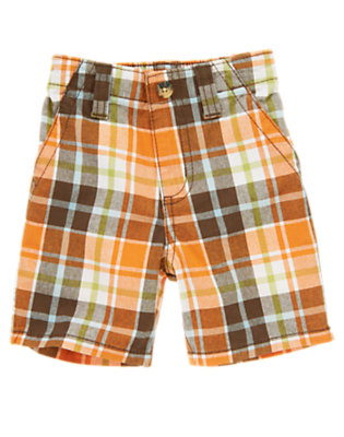 Volcano Orange Plaid Volcano Orange Plaid Short by Gymboree