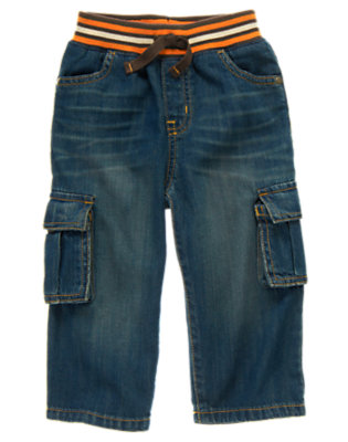 Toddler Boys Denim Pull-On Cargo Jean by Gymboree