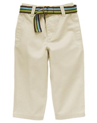 Khaki Belted Twill Pant by Gymboree
