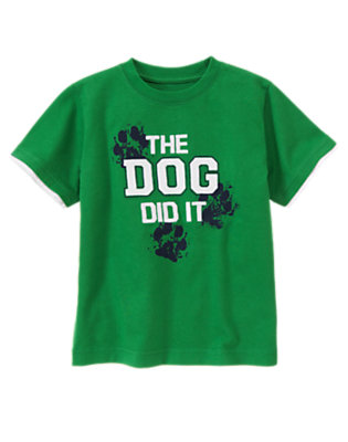 Grass Green The Dog Did It Tee by Gymboree