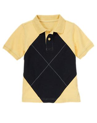 Mustard Yellow Pieced Argyle Pique Polo Shirt by Gymboree