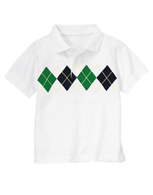 White Argyle Pique Polo Shirt by Gymboree