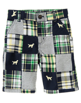 Boys Dark Navy Plaid Embroidered Plaid Patchwork Short by Gymboree