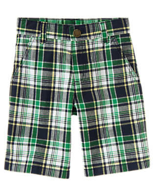 Dark Navy Plaid Plaid Short by Gymboree